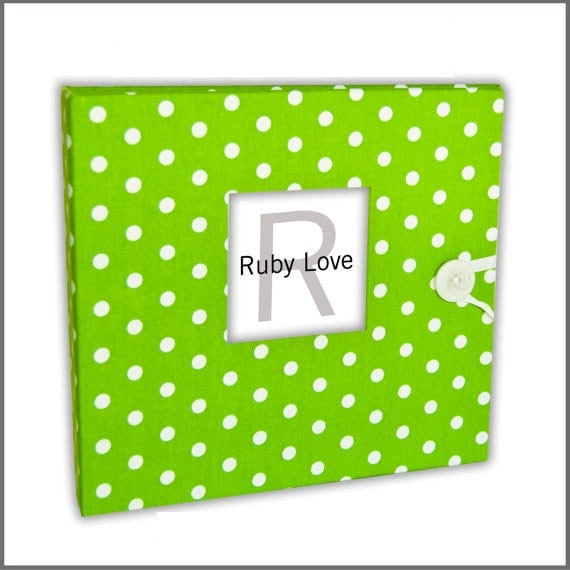 BABY BOOK | Lime Green Baby Dot Album - Ruby Love Modern Baby Memory Book