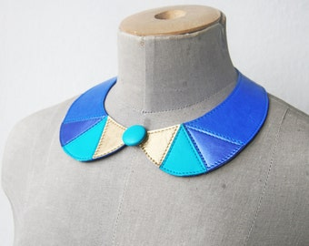 Leather Necklace Peter Pan Collar Blue Leather Collar Bib Necklace Statement Leather Necklace Geometric Triangles Necklace READY TO SHIP