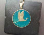 New Zealand - Egret Coin Pendant - Hand Painted - 1991