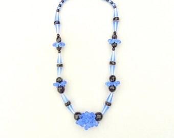 Art Deco Glass Necklace. Blue Black. Teardrop Baubles.
