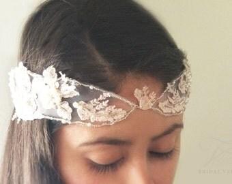 Blush pink veil, blush crown, lace headpiece, lace bridal headpiece, wedding crown, wedding headpiece, pink bridal veil, pink wedding veil,