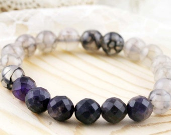 Charisma and Amiable unisex bracelet - amethyst and dragon vein