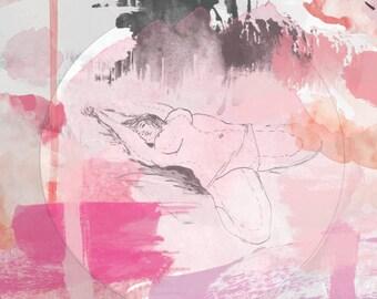 Emma, reclining - Digital watercolor print