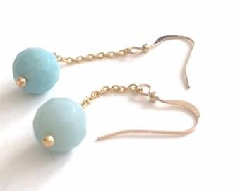 Gold Long Dangle Drop Blue Aqua Color Amazonite Earring