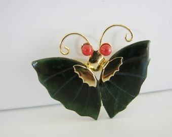 Vintage gold red and green gemstone butterfly brooch/ pendant (G9)