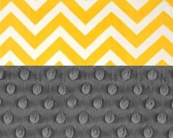 Chevron Minky Baby Blanket, Personalized Yellow Gray Silver Stroller