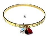 C'EST  LA  VIE Bracelet - brass and beautiful Swarovski hearts