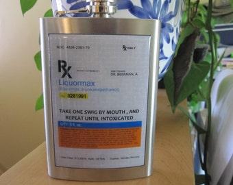 Prescription Drug RX 8 Ounce Liquor Hip Flask