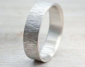 Wood Bark Textured Wedding Ring in Sterling Palladium Silver - 4mm, 5mm or 6mm Wide - eco-friendly recycled sterling palladium wedding band