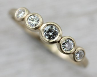 Five Stone Ring - Ethical and Eco-friendly 5 Stone Engagement Ring in Gold or Palladium Conflict-free Diamonds