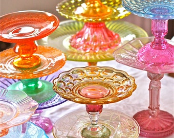 Cake stands-5.25-6.75 inch glass cake stands-large cake stands-colorful cake stands- colored glass cake stands-wedding cake stands-