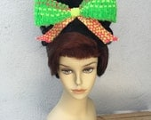 Brown and Fox Red UpDo Drag Queen Wig With Neon Removable Bow