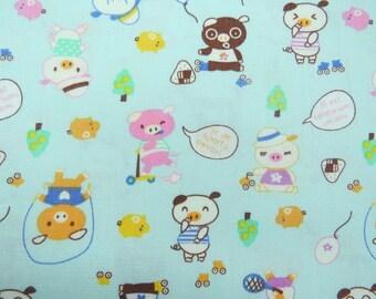 2600C-- Lovely Pigs Fabric in Blue , Cute Animal Fabric , Kawaii Fabric