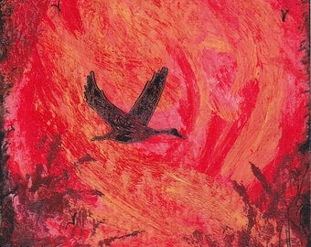ACEO Goose Flying Overhead Migration Original Miniature Acrylic and Ink Collectible Painting Sundown Silhouettes by Pat Adams OOAK