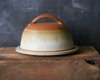 Vintage Stoneware Cheese Keeper Studio Pottery Tan and Egg Shell White From Nowvintage on Etsy
