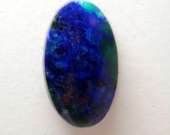 Azurite Malachite with Cuprite Hand Cut Designer Cabochon  Large Oval Cab by Holey Stones