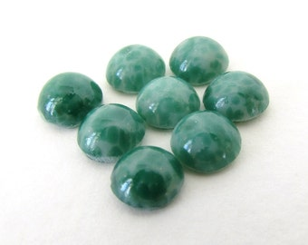Vintage Glass Cabochon Jade Matrix Green Speckled Round Czech 7mm gcb1096 (8)