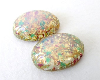 Vintage Glass Cabochon Fire Opal Harlequin Speckled Oval 18x13mm gcb1103 (2)