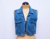 SALE// denim crop zip vest