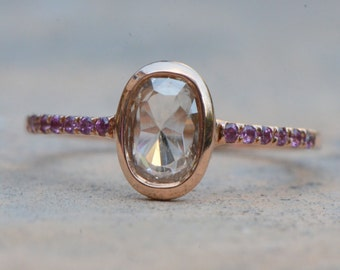 Rose cut diamond ring. 14k pink gold. Rose cut diamond engagement ring. Rhodolite Garnet ring.  Ready to ship.