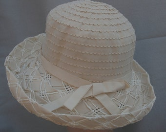 Cream Sun Hat / Ribbon Straw Hat / Cream Hat / Ribbon Sun Hat / Womens Kettle Brim Hat