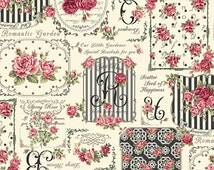 Rose for you RURU Rose bouquet by Quilt Gate floral print 1 yard RU2220-12E