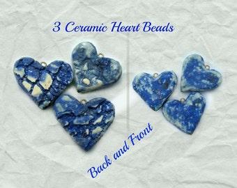 heart bead,blue heart , Heart bead for necklaces, necklace bead supply,clay heart bead,   # 125