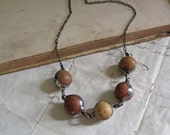 Vintage Clay Marble Long Necklace Boho Jewelry Natural