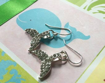 Crystal Whale Tail Earrings