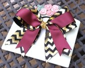 "Big 3"" Maroon, Black and Shiny Gold Chevron Girls Cheer Bow Softball Bow Ponytail Holder"