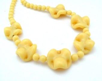 Vintage Glass Necklace, Wavy Potato Chip Glass Beads Lemon Banana Yellow Jewelry