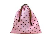 Pastel Pink Pouch Retro Drawstring Bag Brown Hearts Kawaii Tote Bag Lightweight Drawstring Jewelry Pouch Makeup Bag