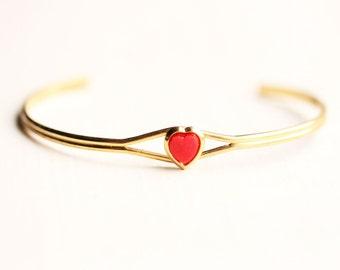Red Heart Bracelet, Heart Bracelet, Heart Cuff