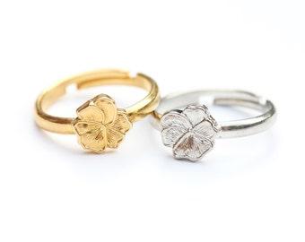 Flower Ring Band, Gold Flower Ring, Silver Flower Ring