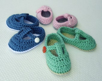 Crochet Baby Shoe Pattern: T-Strap Mary Janes Baby Booties