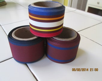 Ribbon, vintage grosgrain remnants 3 rolls one price, 3 yds. each rayon polyester 1960's #27