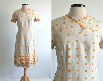 60s Embroidered Irish Linen Shift Dress - medium
