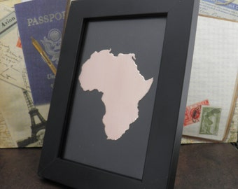 AFRICA , Africa Silhouette , Africa Framed Metal Art