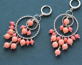 Pink Corals Silver Cascade Earrings, Fashion Accessories, Bridesmaid, Weddings, Silver Earrings, Jewelry Trend, Pink Earrings, Women Fashion