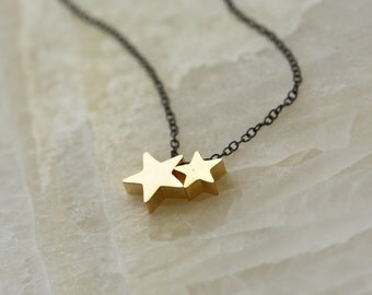 Gold Stars Oxidized Silver, Minimalist Necklace, Star Necklace, for Wife, for Mom, for Sister, for Prom, for Graduation, Dainty Necklace