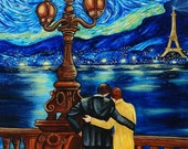 Art Print, Fine Art Print, Lovers, Couple, Paris, Eiffel Tower, van Gogh, Starry Starry Night from Original Oil Painting