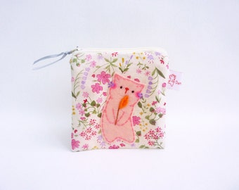 Coin Purse Wallet Zipper Pouch Cat Coin Purse Spring Flower Change Pouch