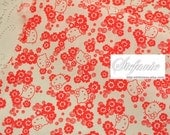 SALE Clearance 1 Yard Traditional Kimono Red Small Hello Kitty Bow Head Cherry Blossom Sakura Plum Floral Garden- Japanese Cotton Fabric