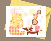 Dachshund Card - PartyWiener and Owls Birthday Card in in Girly Tones with Envelope and Sticker - Doxie Birthday