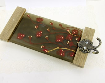 Wall  Hanging hooks, Fused glass Tile Key Rack, red flower - brown Background.