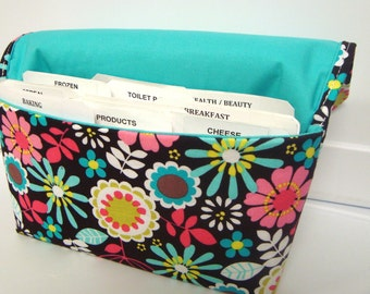 Coupon Organizer /Budget Organizer Holder  / Attaches To You Shopping Cart - Lazy Daisy in Coco Brown