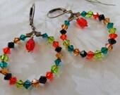 Flame Swarovski And Multi Colored Crystal Brass Hoop Earrings