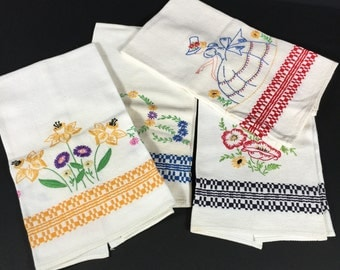 Towels- for Hand, Embroidered, Vintage Towels