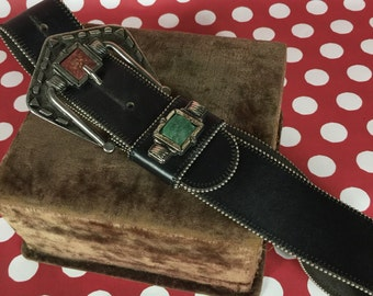 Black Leather Belt with Stones