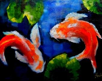 "Original oil painting  ""Meandering Koi"" digital download"